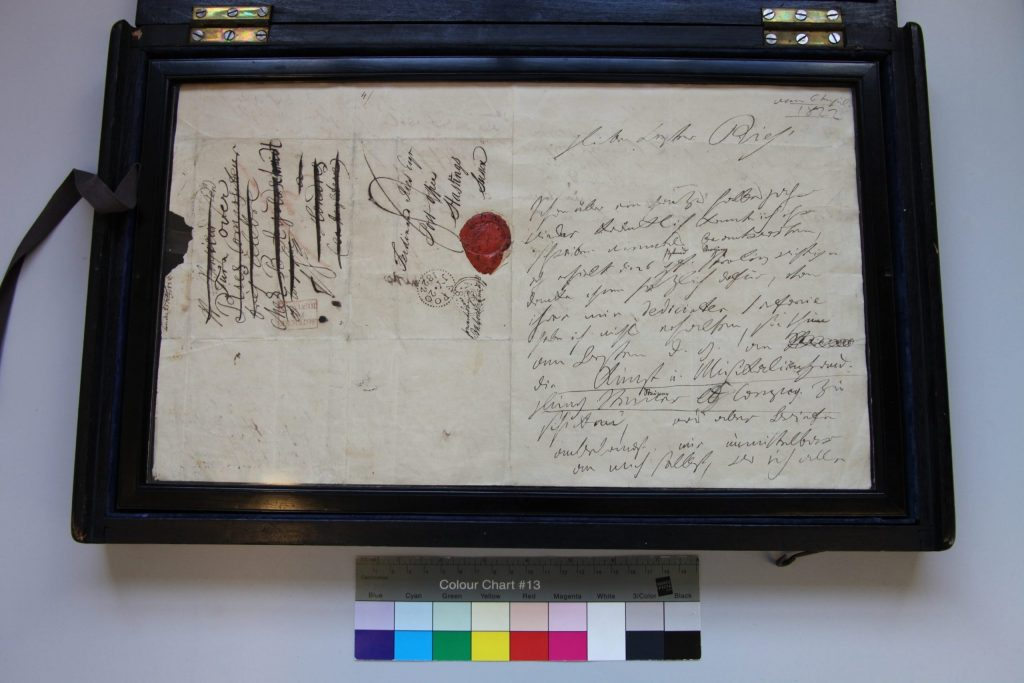 1822 Beethoven letter in 19th-century frame