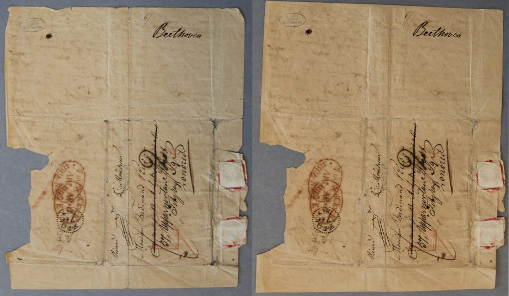 1819 Beethoven letter before and after conservation