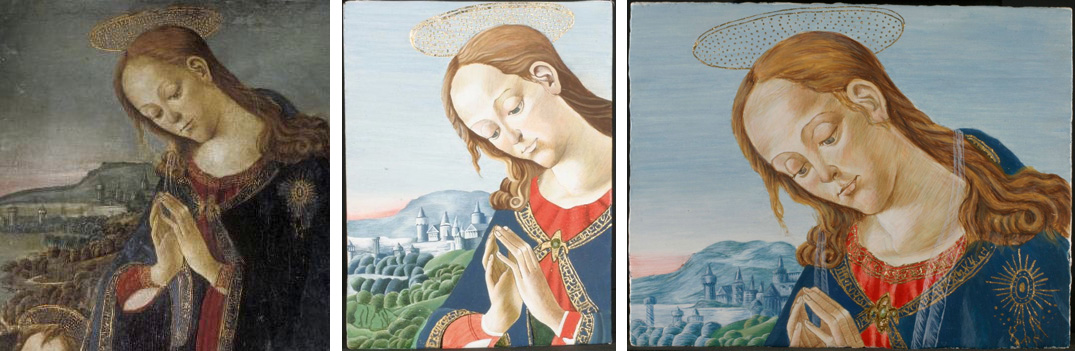 Detail of Virgin Adoring the Child by Jacopo del Sellaio, Fitzwilliam Museum (left); first-year reconstructions by Pia and me (middle and right)