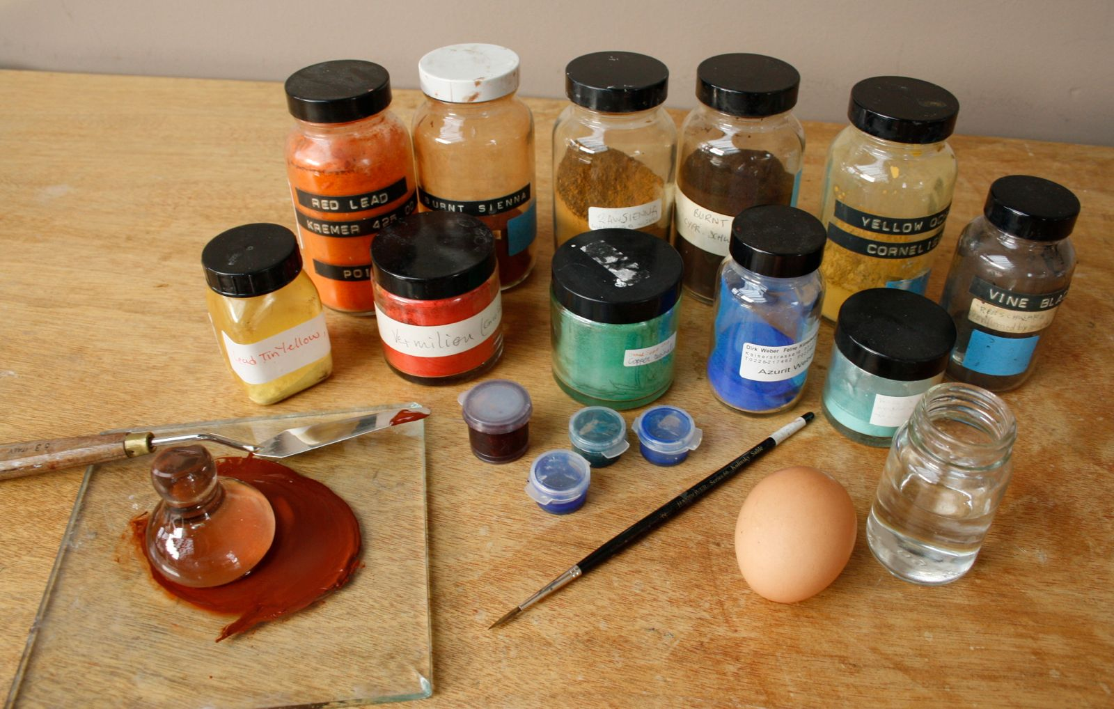 Materials used to make egg tempera paint