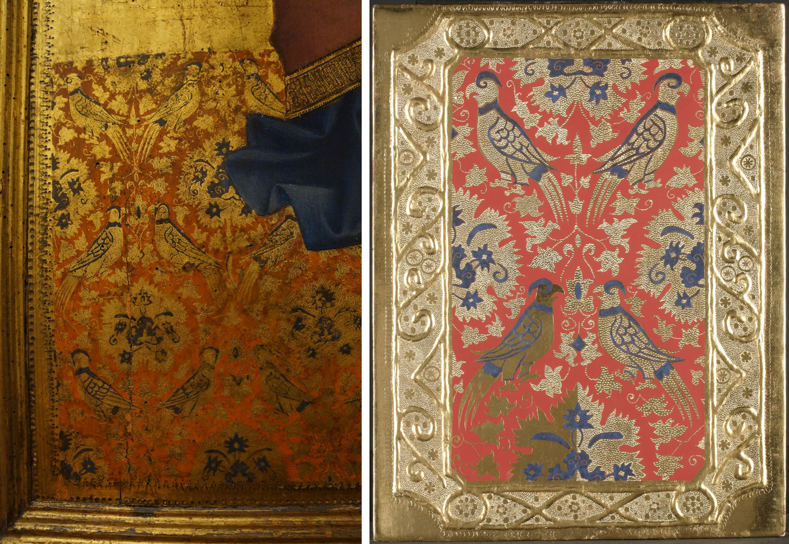 Detail of Saint Matthew and Scenes from his Life by Andrea Orcagna, Uffizi Gallery (left); our reconstruction (right).