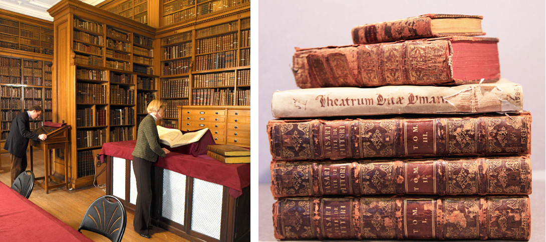 The Founder's Library in the Fitzwilliam Museum (left); and some of the rare books I have been conserving (right)