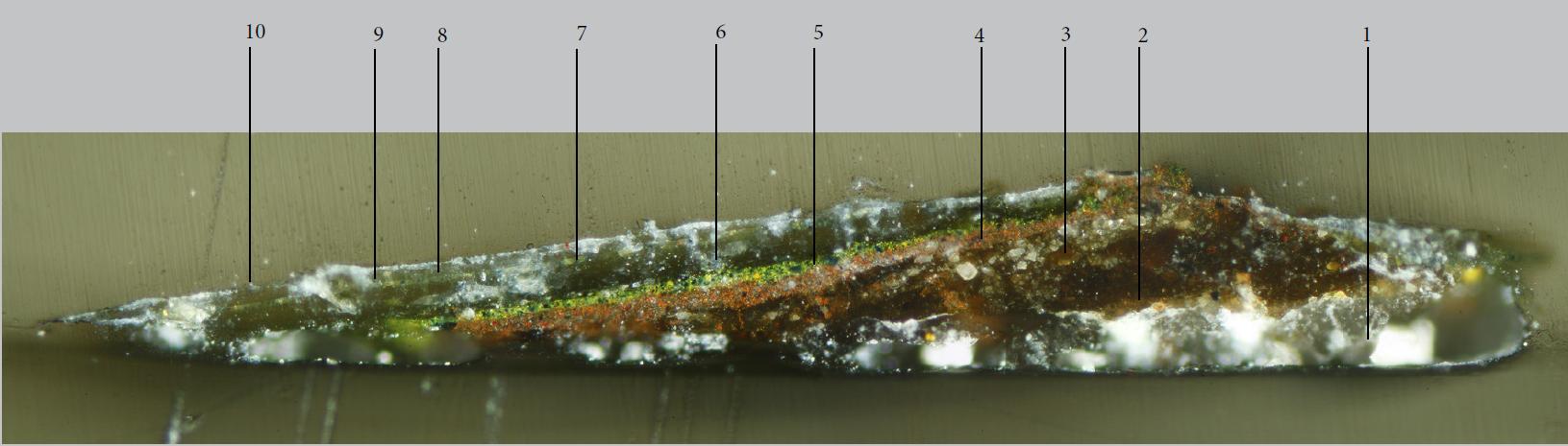 Fig. 7. Paint sample set in resin (cross section)(© Polkownik)