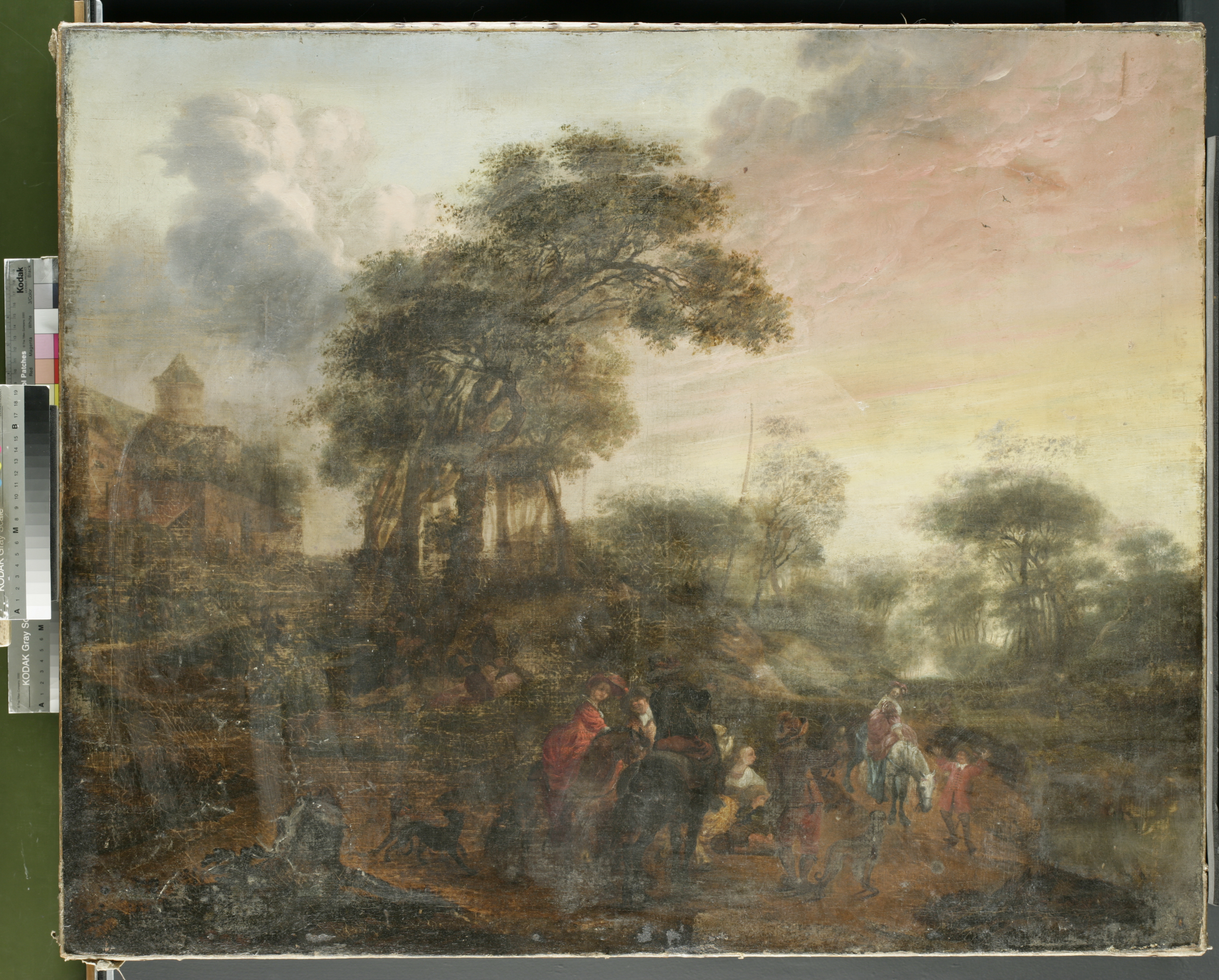 Figure 1: Landscape with Figures, whole front, before treatment (©Titmus)